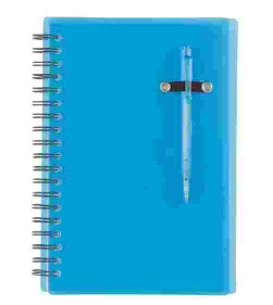 Spiral bound notebook with ballpoint pen