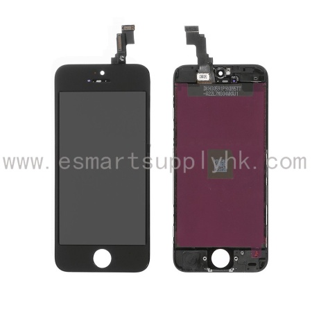 For Apple iPhone 5C LCD Screen and Digitizer Assembly with Frame Replacement - Black - Grade S+ - iphone 5c lcd screen
