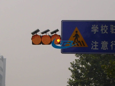 Amber solar LED red blinking warning light for school area,Yellow slow down traffic warning blinker - 4