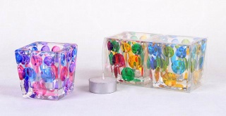 bubble glass candle holder with dots hand-painting decoration.