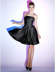 A-line Spaghetti Straps Knee-length Satin little Cocktail Dress - 00180138