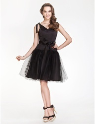V-neck A-line Satin And Tulle Bridesmaid Dress lbd - 00214953