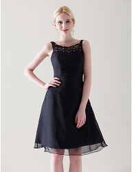 A-line Scoop Knee-length Chiffon Satin little black Cocktail Dress - 00180136