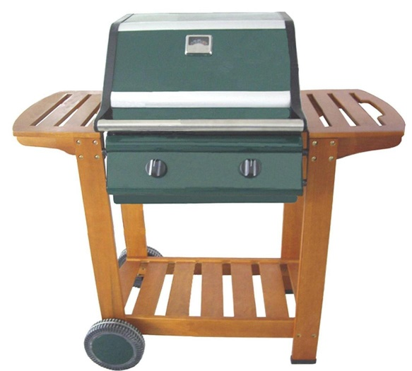 2 Burner Wooden Trolley Grill - H02WH