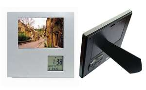 Rotating photo frame with alarm clock thermometer - S261