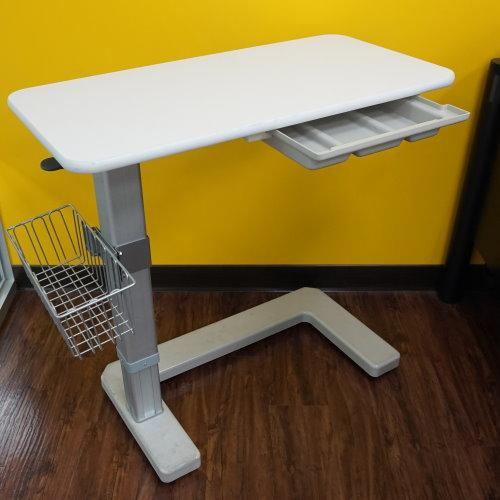Low-profile C-shaped mobile base over-bed table!!salesprice